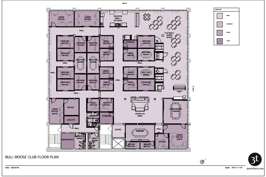 Interior office space floor plan rendering