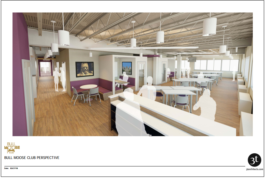 Interior office space rendering